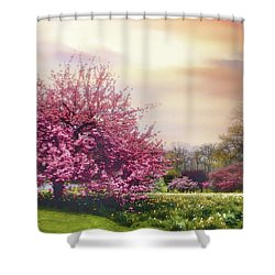 Shower Curtain featuring the photograph Cherry Orchard Hill by Jessica Jenney