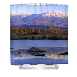 Cherry Pond Reflections Panorama Shower Curtain