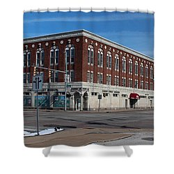 Shower Curtain featuring the photograph Cherry Street Mission In Winter by Michiale Schneider