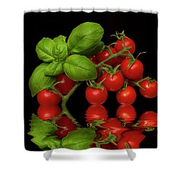 Shower Curtain featuring the photograph Cherry Tomatoes And Basil by David French