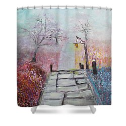 Cherry Trees In Fog Shower Curtain