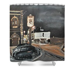 Chertsey At Night 1 Shower Curtain by Carole Robins
