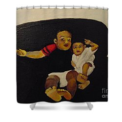 Shower Curtain featuring the painting Cherubs by Saundra Johnson