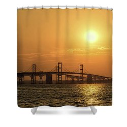 Chesapeake Bay Bridge Sunset I Shower Curtain