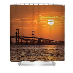 Chesapeake Bay Bridge Sunset II Shower Curtain