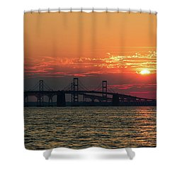 Chesapeake Bay Bridge Sunset 3 Shower Curtain