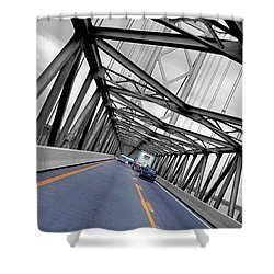 Shower Curtain featuring the photograph Chesapeake Bay Bridge by T Brian Jones