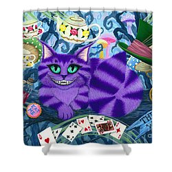 Shower Curtain featuring the painting Cheshire Cat - Alice In Wonderland by Carrie Hawks