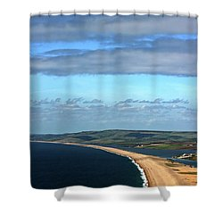 Shower Curtain featuring the photograph Chesil Beach by Baggieoldboy