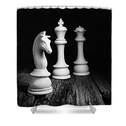 Chess Pieces On Old Wood Shower Curtain