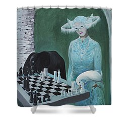 Shower Curtain featuring the painting Chess - The Queen Waits by Tone Aanderaa