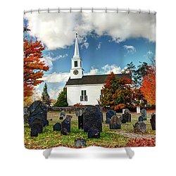 Chester Village Cemetery In Autumn Shower Curtain