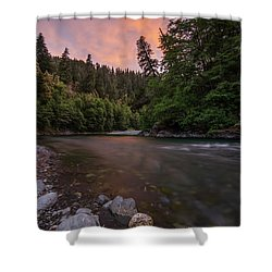 Chetco River Sunset Shower Curtain by Leland D Howard