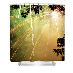 Shower Curtain featuring the photograph Chetola Yellow Fireworks by Meta Gatschenberger