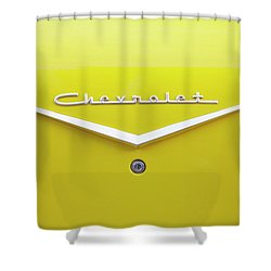 Shower Curtain featuring the photograph Chevrolet Bel Air In Yellow by Toni Hopper