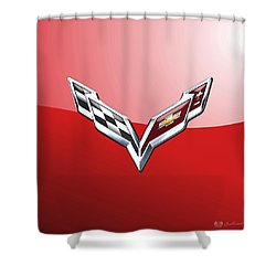 Chevrolet Corvette - 3d Badge On Red Shower Curtain by Serge Averbukh