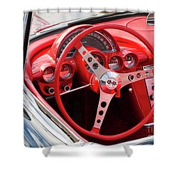 Shower Curtain featuring the photograph Chevrolet Corvette Dash by Chris Dutton