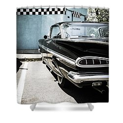 Chevrolet Impala In Front Of American Diner Shower Curtain by Perry Van Munster