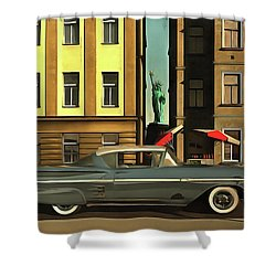 Chevrolette Impala At The Big Apple Shower Curtain
