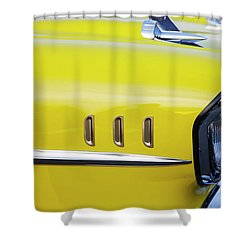 Shower Curtain featuring the photograph Chevy Bel Air Abstract In Yellow by Toni Hopper