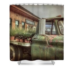 Shower Curtain featuring the photograph Chevy C 30 Pickup Truck - Colby Farm by Joann Vitali