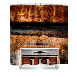 Chevy C10 Rusted Emblem Shower Curtain