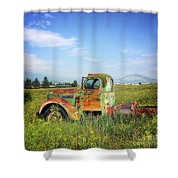 Shower Curtain featuring the mixed media Chevy In A Field by Terry Rowe