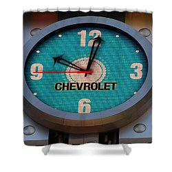 Chevy Neon Clock Shower Curtain by Rob Hans