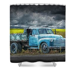 Chevy Truck Stranded By The Side Of The Road Shower Curtain