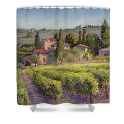 Chianti Vineyard Shower Curtain by Vikki Bouffard