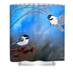 Chickadees  Shower Curtain