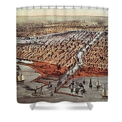 Chicago As It Was Shower Curtain by Currier and Ives