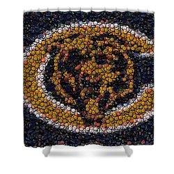 Chicago Bears Bottle Cap Mosaic Shower Curtain by Paul Van Scott
