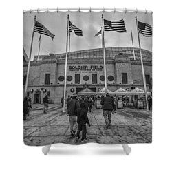 Chicago Bears Soldier Field Black White 7861 Shower Curtain by David Haskett
