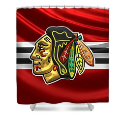Chicago Blackhawks - 3 D Badge Over Silk Flag Shower Curtain by Serge Averbukh