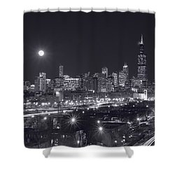 Chicago By Night Shower Curtain by Steve Gadomski