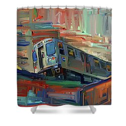 Chicago City Train Shower Curtain