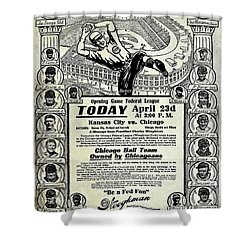 Chicago Cub Poster Shower Curtain by Jon Neidert