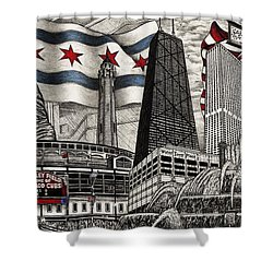 Chicago Cubs, Ernie Banks, Wrigley Field Shower Curtain