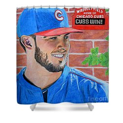 Shower Curtain featuring the drawing Chicago Cubs Kris Bryant Portrait by Melissa Goodrich