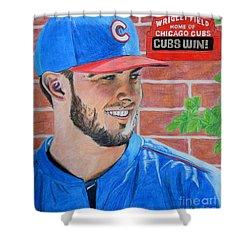 Chicago Cubs Kris Bryant Portrait Shower Curtain by Melissa Goodrich