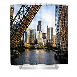 Chicago Downtown And Kinzie Street Railroad Bridge Shower Curtain