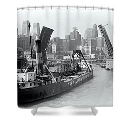 Shower Curtain featuring the photograph Chicago Draw Bridge 1941 by Daniel Hagerman
