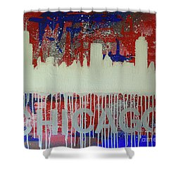 Shower Curtain featuring the painting Chicago Drip by Melissa Goodrich