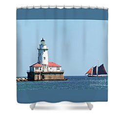 Chicago Harbor Lighthouse And A Tall Ship Shower Curtain