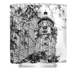 Shower Curtain featuring the photograph Chicago Historic Water Tower Fog Black And White by Christopher Arndt