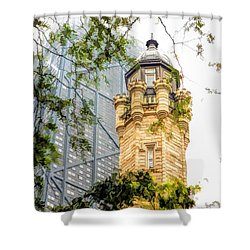 Shower Curtain featuring the painting Chicago Historic Water Tower Fog by Christopher Arndt
