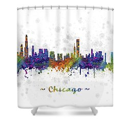 Chicago Illinois Skyline Color 03sq Shower Curtain by Aged Pixel