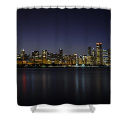 Shower Curtain featuring the photograph Chicago In Blue by Andrea Silies