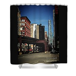 Chicago L Between The Walls Shower Curtain